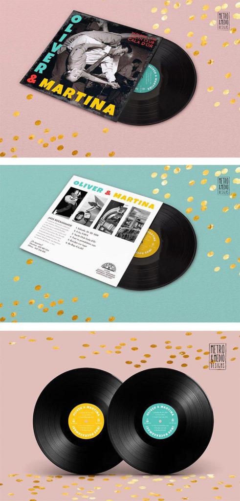 Vista de la portada, contraportada y la disco-invitación de boda inspirada en un disco de Elvis Preseley