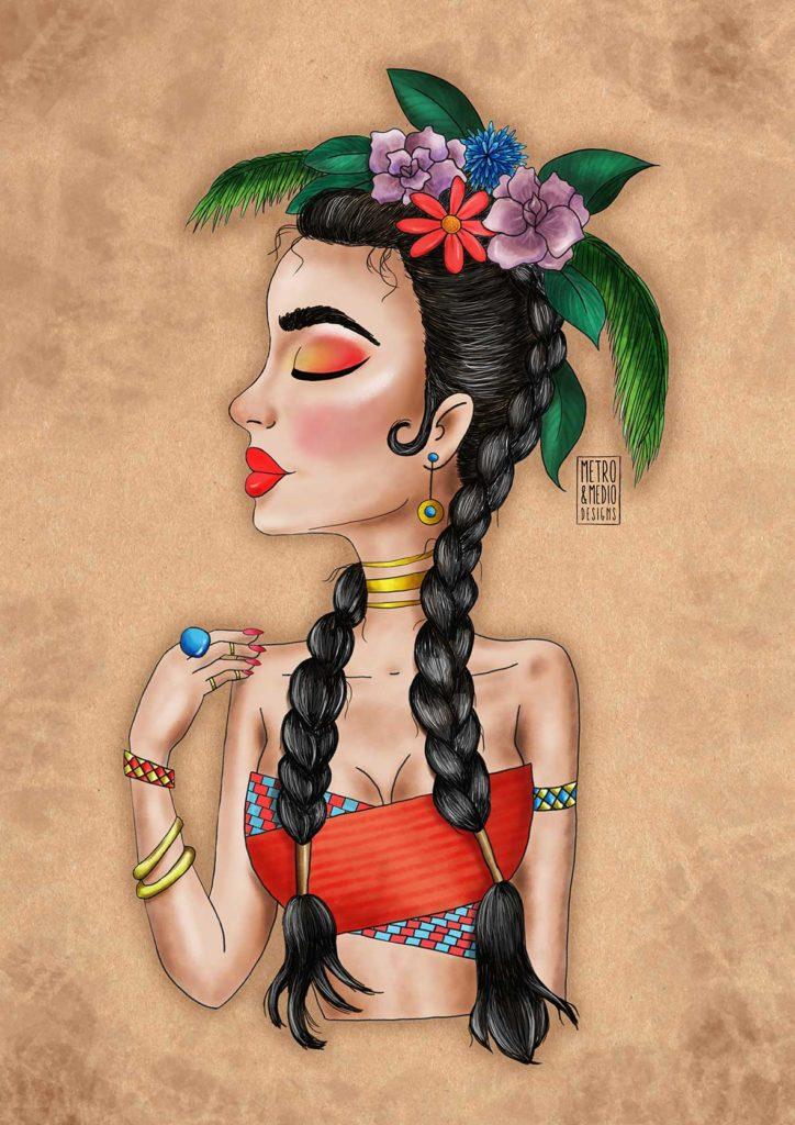 Ilustración digital estilo cartoon de chica con corona de flores con look de festival veraniego de música