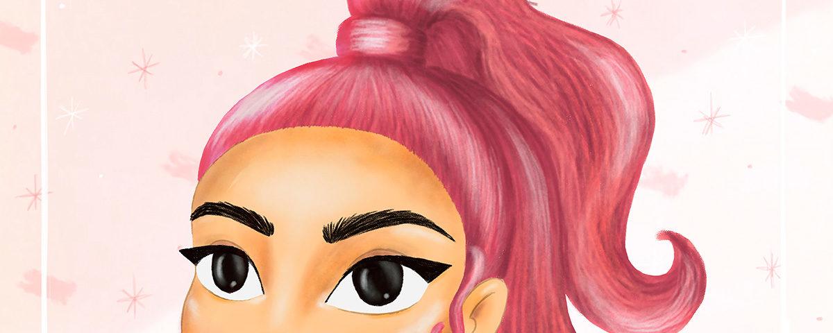 Detalle de ilustración estilo cartoon de chica con el pelo de color rosa