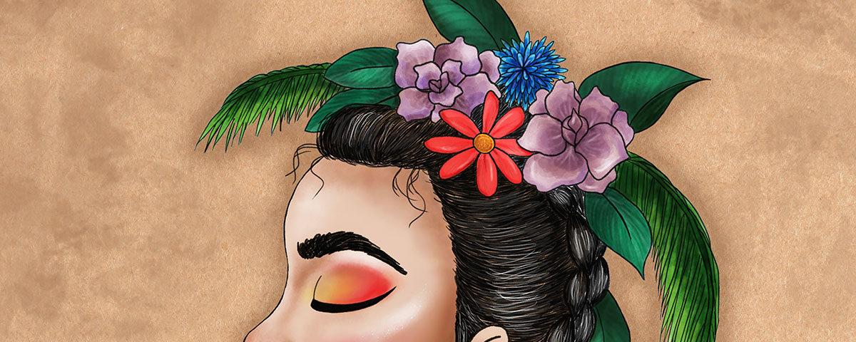 Detalle de ilustración de chica con corona de flores