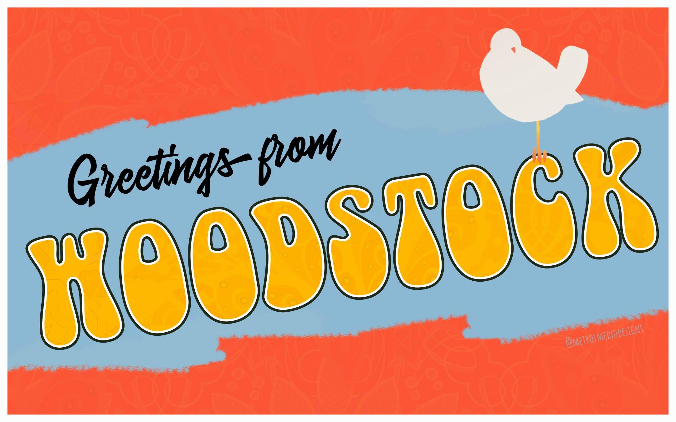 Postal inspirada en el cartel del festival de Woodstock de 1969