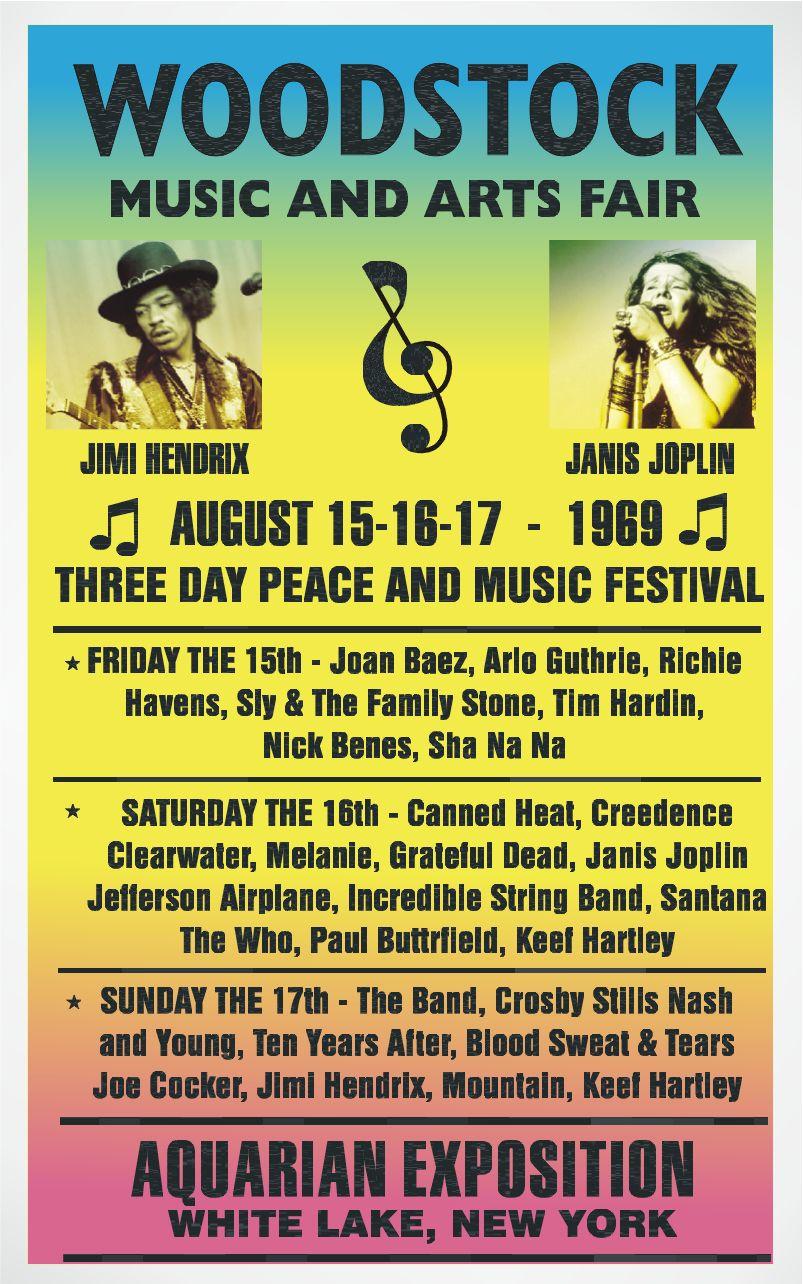 Possible primer cartel para el festival de Woodstock 1969 antes del diseño de Skolnick.